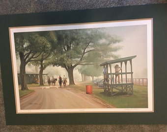 """Anthony M. Alonso signed and numbered """"Serenity"""" Horses, Horse Racing, Fine Art, National Museum of  Racing and Hall of Fame, Number 99/300"""