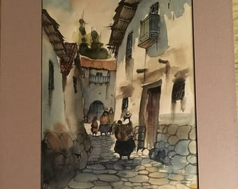 Original Watercolor of a Peruvian or South American Village, unsigned, matted