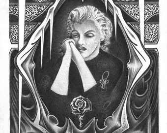 Fine Art Print Original Marilyn Monroe Fine Art Black and White Pen and Ink Pinup Girl