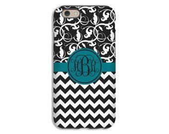 Monogram iPhone 7 case, chevron floral iPhone 7 Plus case, chevron iPhone 6s case, iPhone 6s Plus case/6/6 Plus case, 3D iPhone case