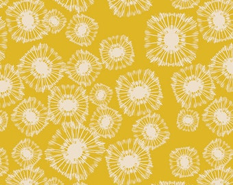 Dandelion Fabric | Yellow | Honey Gold Floral Print | Art Gallery | Floral Fabric | Seed Puffs | Gold Yellow Print