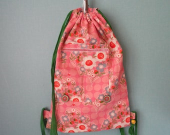 Backpack in pink cotton