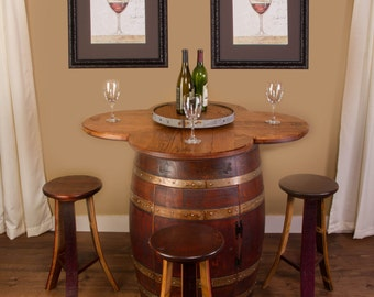 1001 Wine Barrel Table Set With 4 Wine Stave Stools, Wine Barrel Head Clover top and Lazy Susan