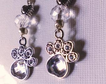 Crystal paw prints on my heart earrings