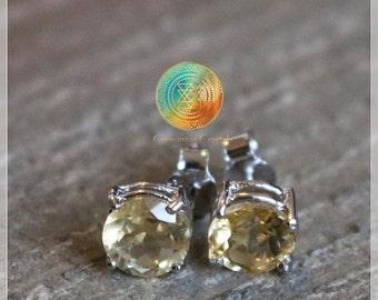 Genuine CITRINE Stud Earrings, Sterling Silver Earrings, Gemstone Earrings, Jewelry, Citrine Earrings, Success,Abundance, Gift for her,Luck
