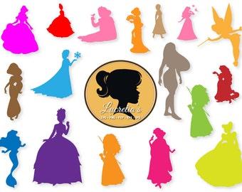 Disney princess silhouette  dxf, Princess clipart, SVG files for Silhouette Cameo or Cricut, Princess logo, Princess vector, svg, dxf eps