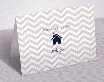 Thank You Note Card, From Our House To Yours, Set of 10 Cards with Envelopes