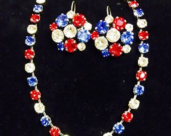 Americaca inspired Swarovski crystal necklaces. Red, white, and blue. Four different style choices!