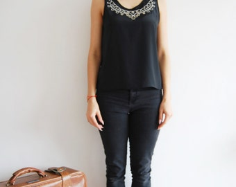 Vintage 80s Black Embellished Top - UK 12