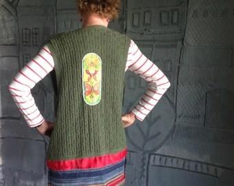 Tunic Cardigan Upcycled Sweater/ Acrylic Painting/Size Medium S22