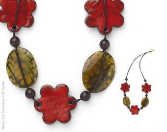 Necklace varied, quartz and ebony
