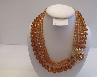 Stunning vintage marked SELRO SELINI 5 strand amber color necklace with big bold clasp