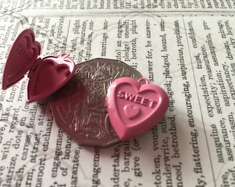 2 Pink Heart Locket Charms