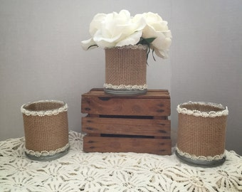 Burlap Candle Holders-Set of 3