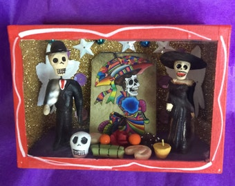 Day of the Dead Glass Box with a celebration of Katrina