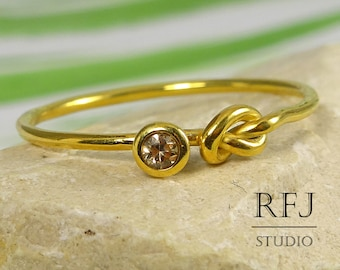 Yellow Gold Plated Knot Lab Cognac Diamond Ring, 2 mm Stone Friendship 24K Gold  Silver Ring Cognac Diamond Love Knot Gold Plated Ring
