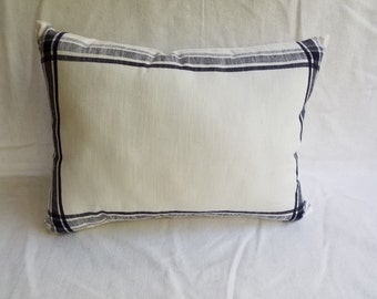 White with Blue Border Pillow