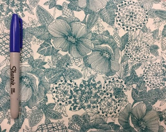 """Floral Fabric - Large sketch floral 100% cotton Fabric by the yard 36""""x43"""" (G239)"""