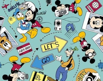 "Disney Fabric: Mickey Mouse, Donald Duck, and Goofy Say cheese - Let's go explore 100% cotton Fabric by the yard 36""x43"" (A240)"