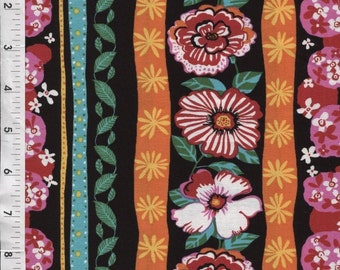 """Floral Fabric: Fabri-Quilt Urban Garden Large Stripe  100% cotton fabric by the yard 36""""x43"""" (C233)"""