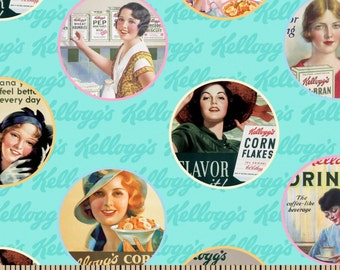 """Cereal Fabric, Kellogg's Fabric: Kelloggs Vintage Ads Ladies Teal - Kellogg's corn flakes ads 100% cotton Fabric by the yard 36""""x44"""" (N368)"""