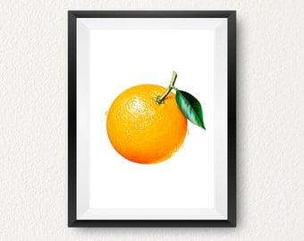 Orange, Orange print, Instant download, Fruit print, Kitchen wall art, Orange print, Modern print, Home decor, Wall art