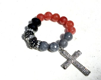 Black Red & Grey with Pave Cross