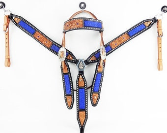 Western Barrel Trail Horse Handmade Buck stitched Blue Leather Bridle Headstall Breast collar Tack Made To Order