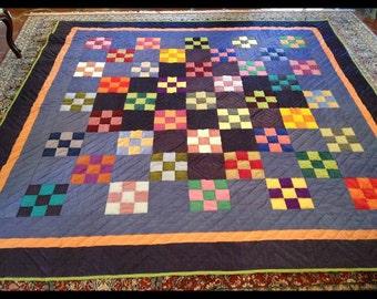 Nine-Patch Checkerboard Silk Quilt