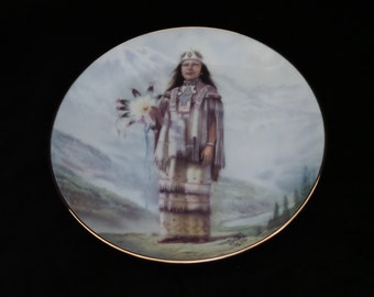 """1990 Artaffects Indian Bridal """"Misty Waters - The Crow Bride"""" Collector Plate by Gregory Perillo"""
