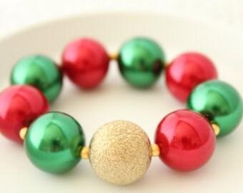 Pearl Bracelet - Wedding Pearl Bracelet - Chunky Bracelet - Girls Bracelet