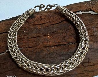 Sterling silver wire bracelet viking knit