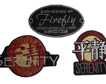 Serenity/ Firefly Set of 3 Embroidered Movie Patches