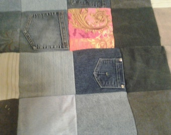 Blue Jean Quilt, Twin size, great for camping or picnics, Very durable