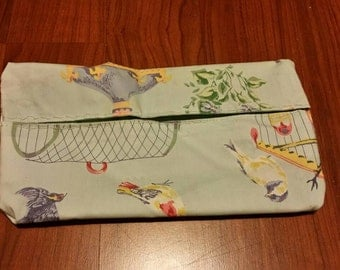 Handmade Bird Print Pouch, Made from Recycled Fabric.