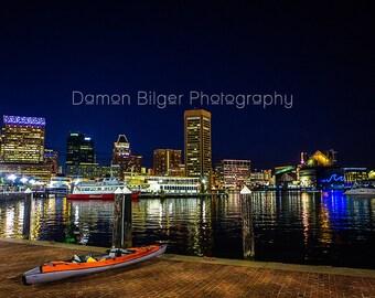 Baltimore Harbor Night Skyline