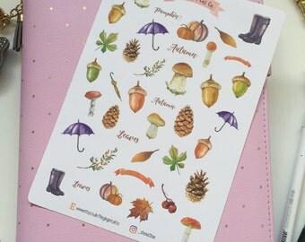 Watercolour Autumn Stickers   Planner Stickers, Journal Stickers, Scrapbook, Bullet Journal