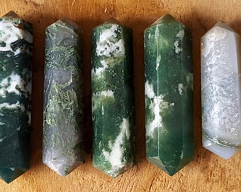 Moss Agate Double Terminated Point  - Hand Cut Natural Stone Point for Crystal Grids or Terrarium 250