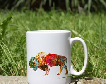 Bison Mug - Art Mug - White Ceramic Mug - Colorful Printed Mug - Tee Mug - Coffee Mug - Gift