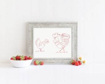 Rooster and Hen Hand Embroidery Pattern Vintage Hand Embroidery Design PDF File Embroidery Pattern Printable Embroidery Pattern Chickens