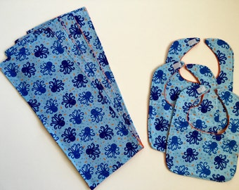 Blue and Orange Octopus Bibs and Burp Cloths