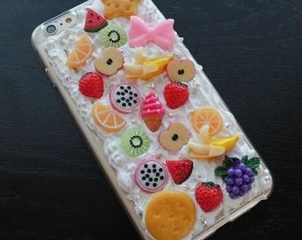 White Whipped Cream Fruits Biscuit Bow Rhinestone Deco iPhone 6 Plus Case