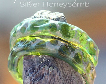 UpCycled SLider Ring lampwork beads MTO from Champagne Bottle glass for Jewelry Design