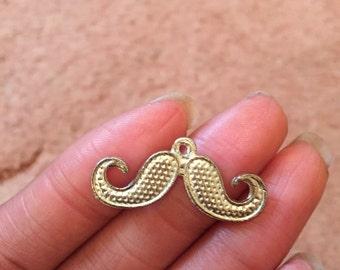 5 Moustache Charms Antique Silver Tone