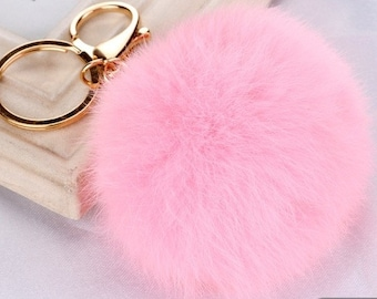 8 cm Pink Fur Pom Pom Key Chain