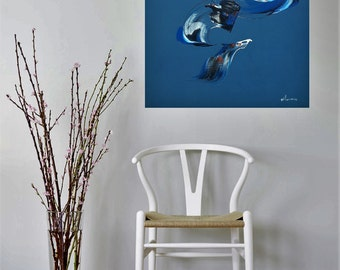 Art blue abstract painting contemporary abstract
