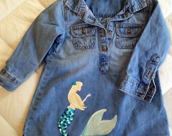Jean Dress with Mermaid - 2T