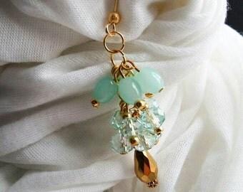 SALE~Aqua Green Dangly Hijab Pin Brooch