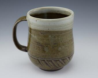 Green and White Ceramic Mug with Handle, Wheelthrown: Series I