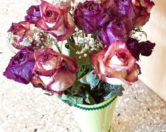 One of a kind dried rose bouquet in green milkshake vase 17""
